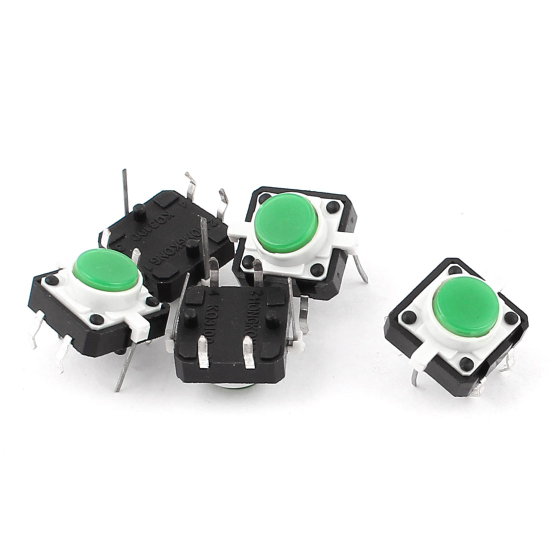 5 Pcs 12x12x7mm Momentary 4pin Green Lamp Push Button Tact Switches