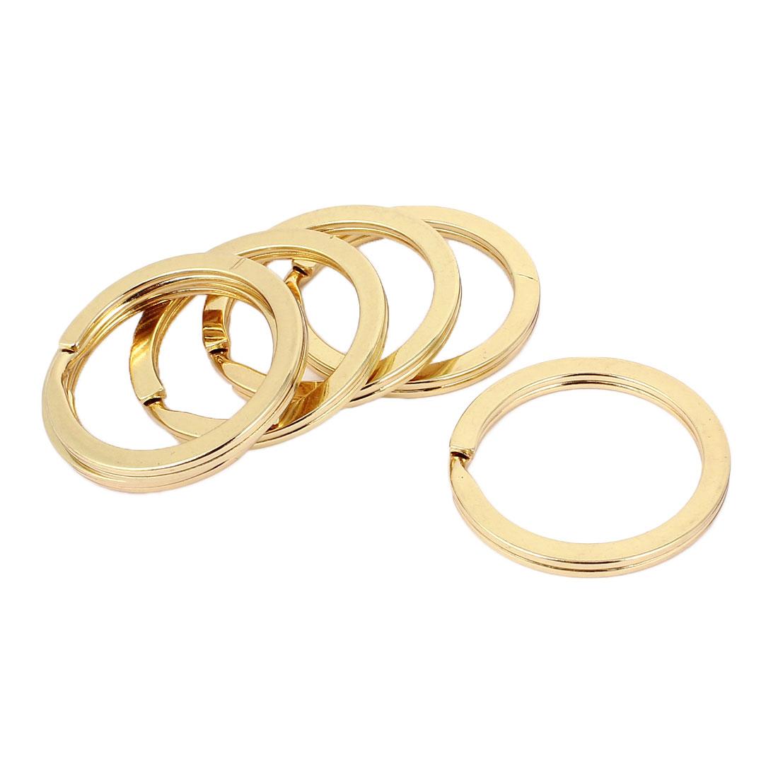 Metal Round Flat Split Loop Key Rings Holders Keyring Gold Tone 33mm Dia 6 Pcs