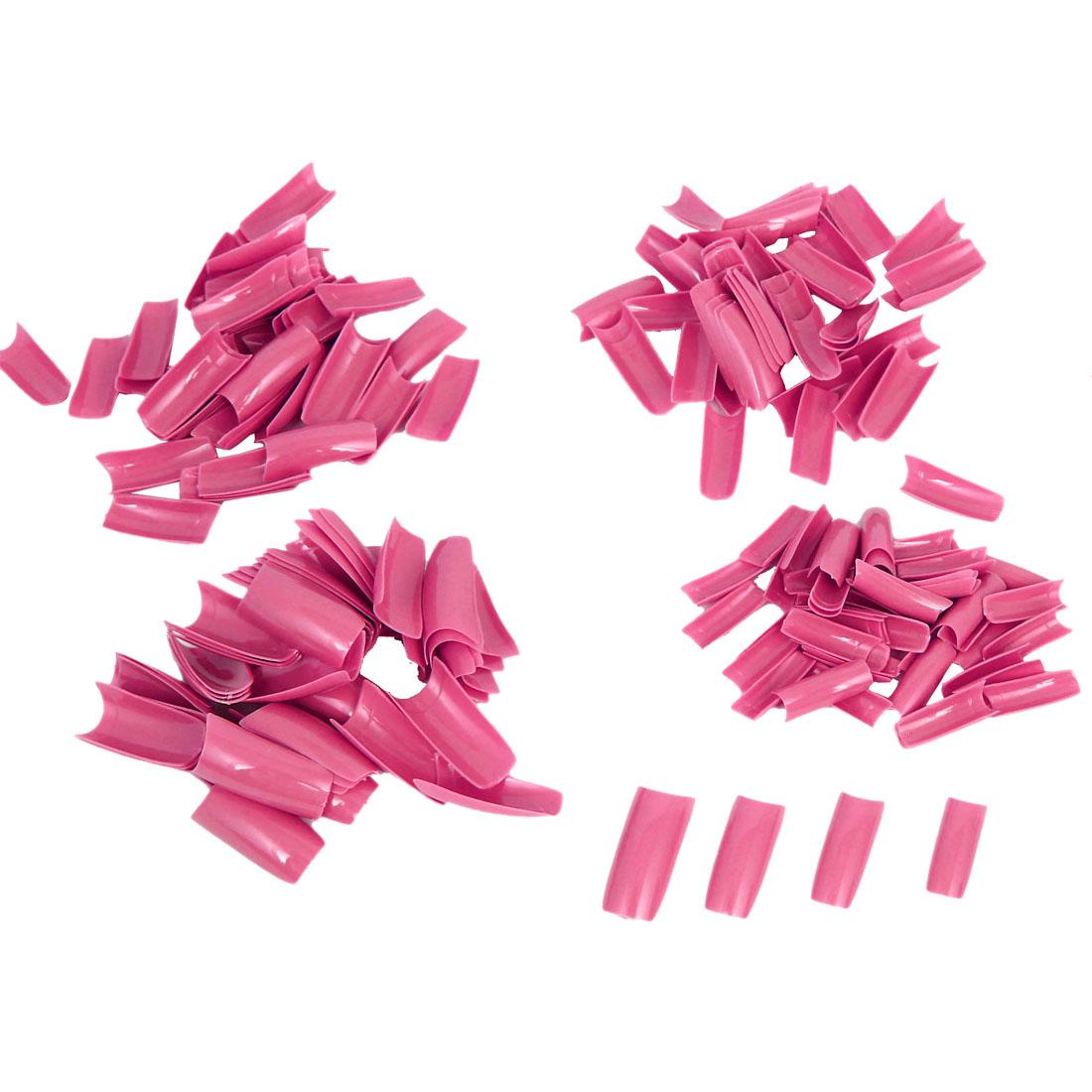 Women Fuchsia Plastic DIY False Nail Art Decal Stickers Tip Decoration 250 Pcs
