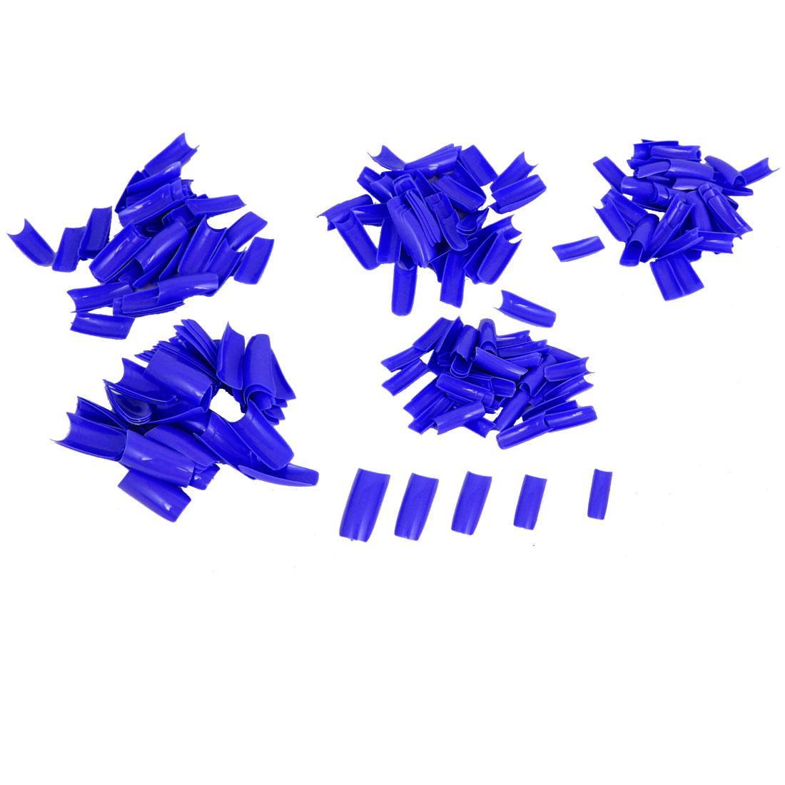 Women Dark Blue Plastic DIY False Nail Art Decal Stickers Tip Decoration 250 Pcs