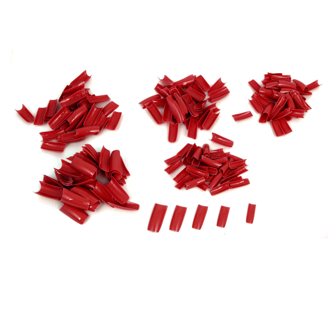 Women Red Plastic DIY False Nail Art Decal Stickers Tip Decoration 250 Pcs