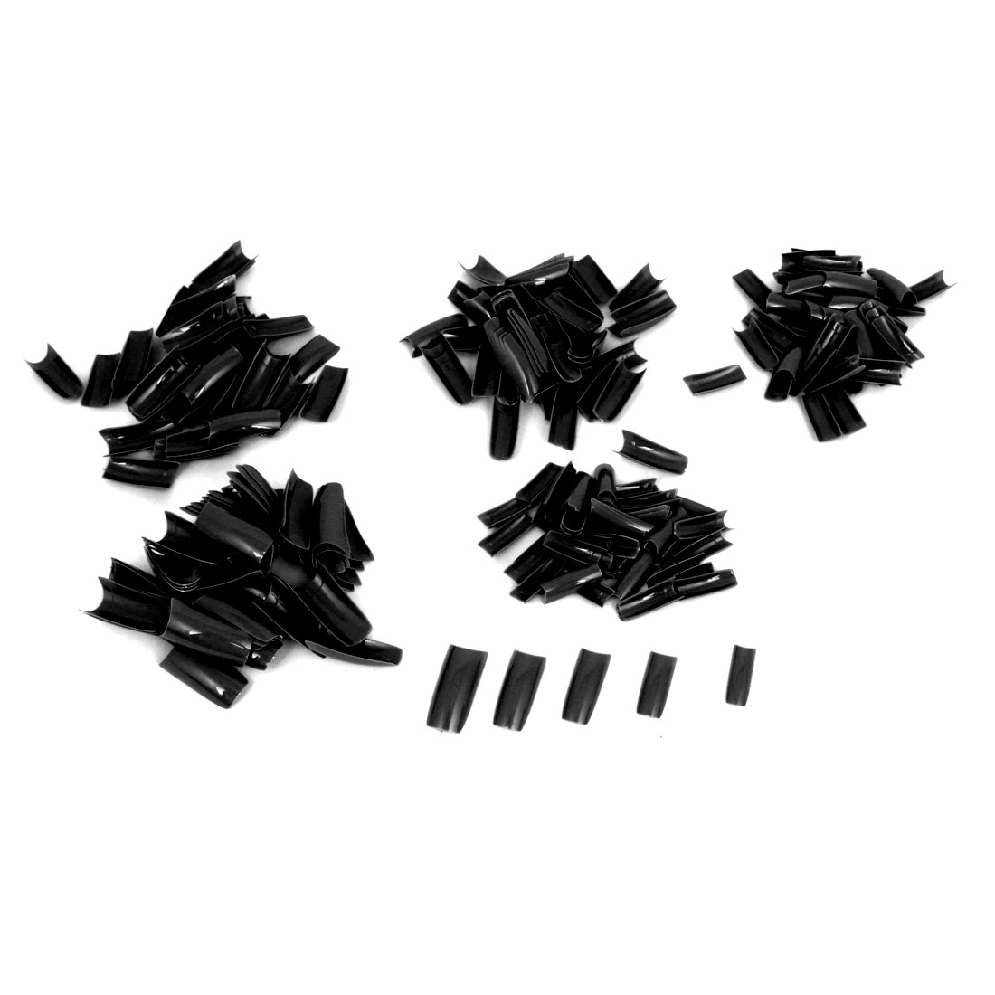 Women Black Plastic DIY False Nail Art Decal Stickers Tip Decoration 250 Pcs