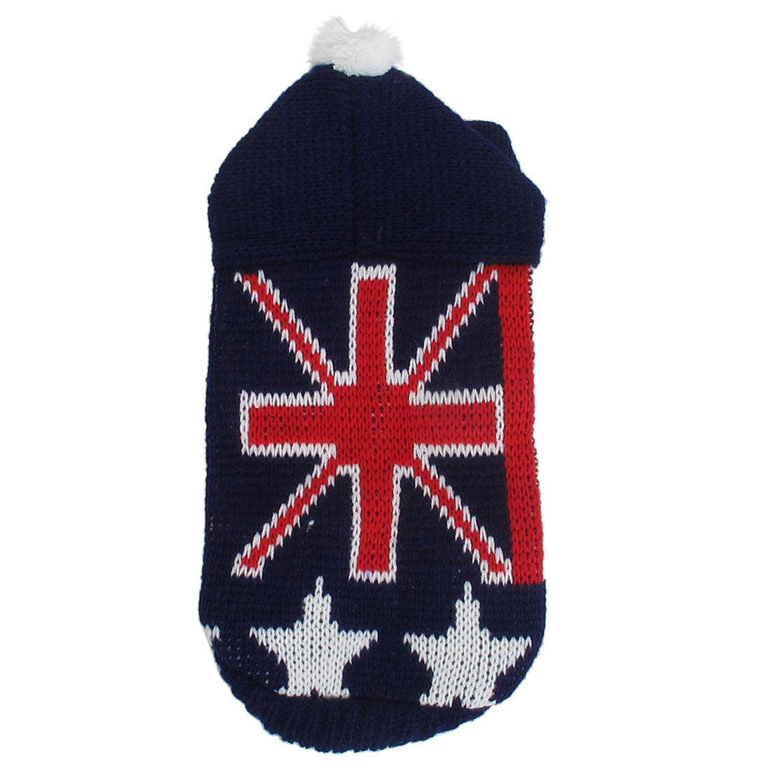 Pet Dog Ribbed Cuff Knitwear UK Flag Pattern Apparel Sweater Red Blue Size XXS
