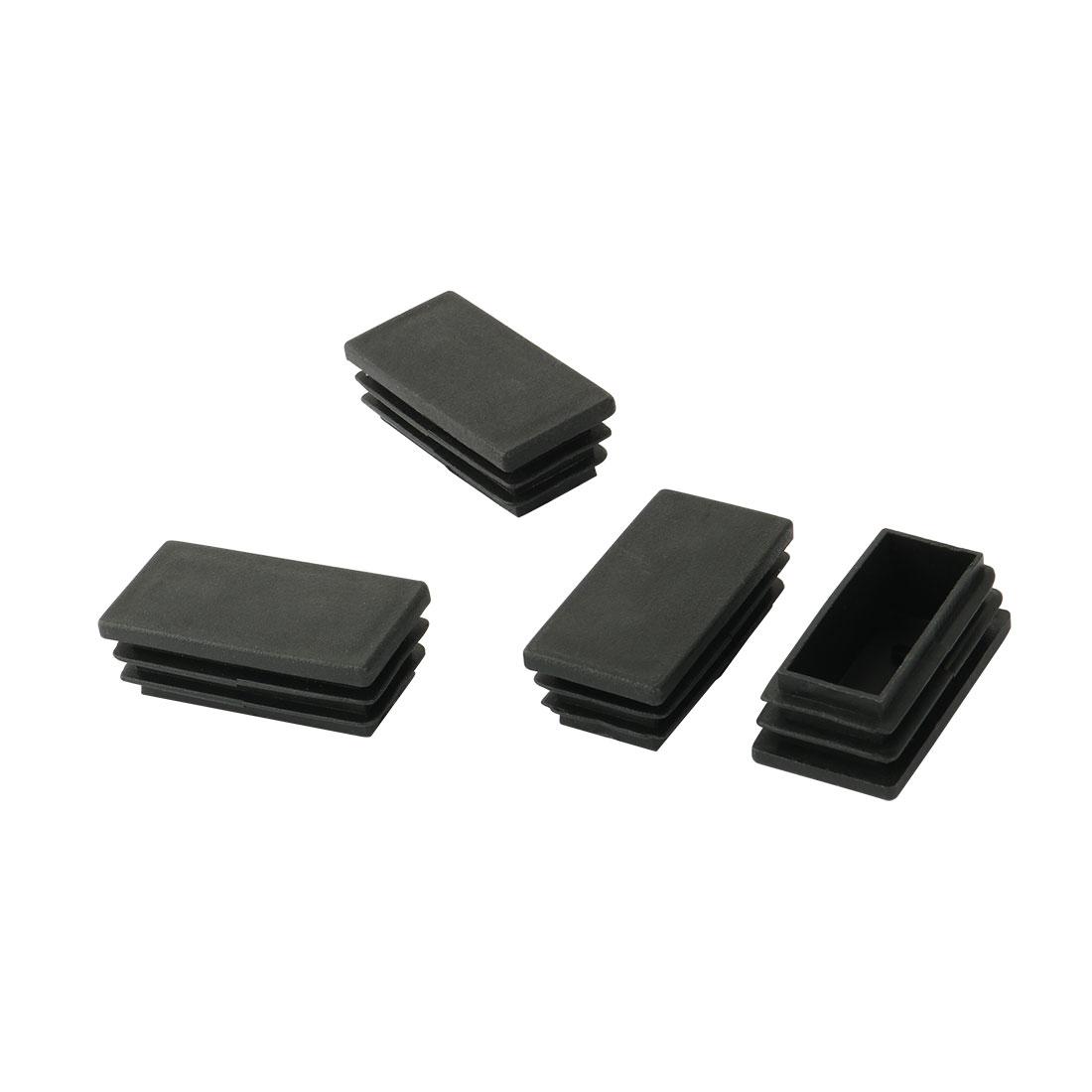 Plastic Rectangle Blanking End Tubing Cap Insert Bung Black 50mm x 25mm 4 Pcs