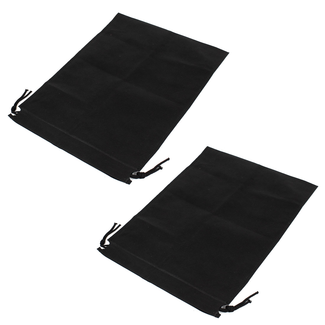 Drawstring Cinch Sack Textured Bags Holder 50cm x 40cm 2 Pcs Black