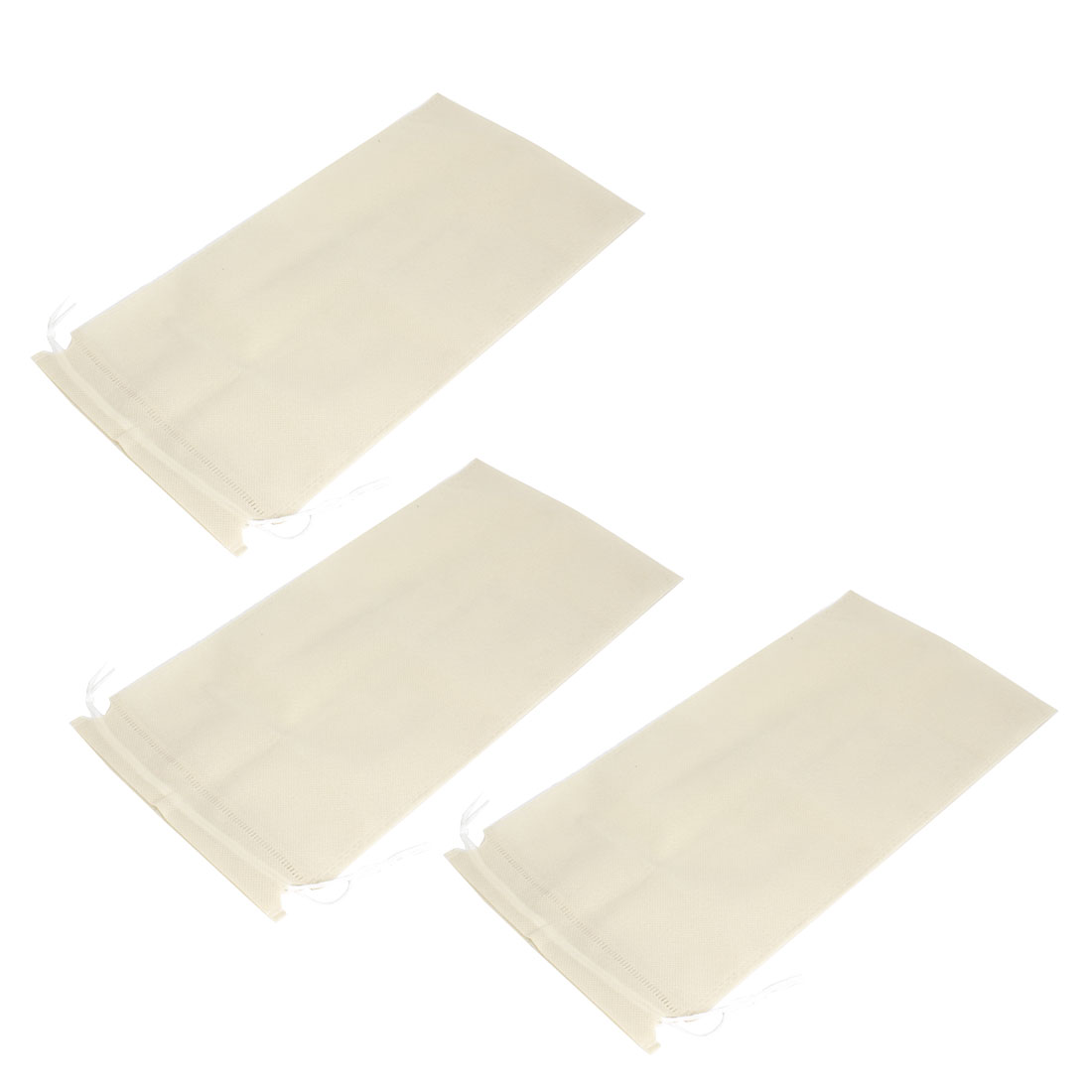 3 Pcs Beige Drawstring Cinch Rectangular Storage Bags Holder 37cm x 19cm