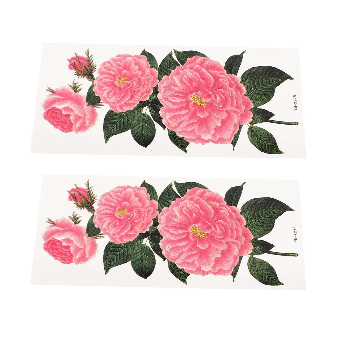 2 Sheets Flower Pattern Shoulder Removable Sticker Temporary Tattoos Pink Green