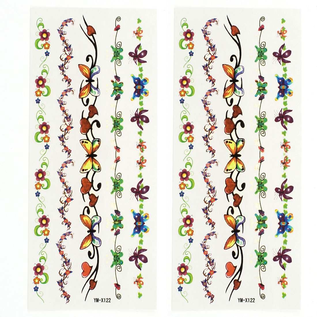 2 Sheets Flower Vine Body Art Sticker Temporary Tattoos Multicolor