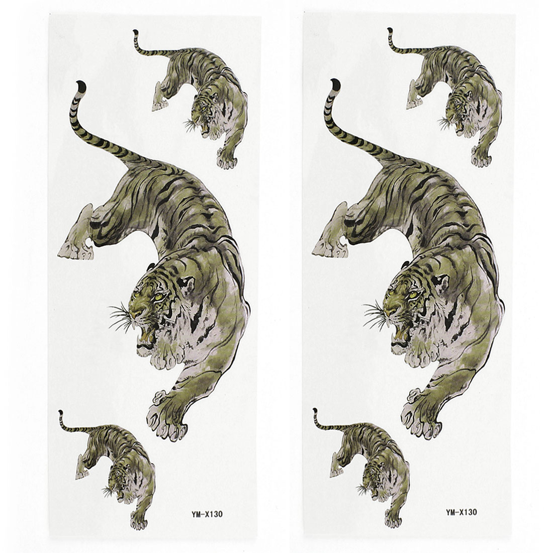 2 Sheets Removable Tiger Pattern Paper Sticker Temporary Tattoos Brown
