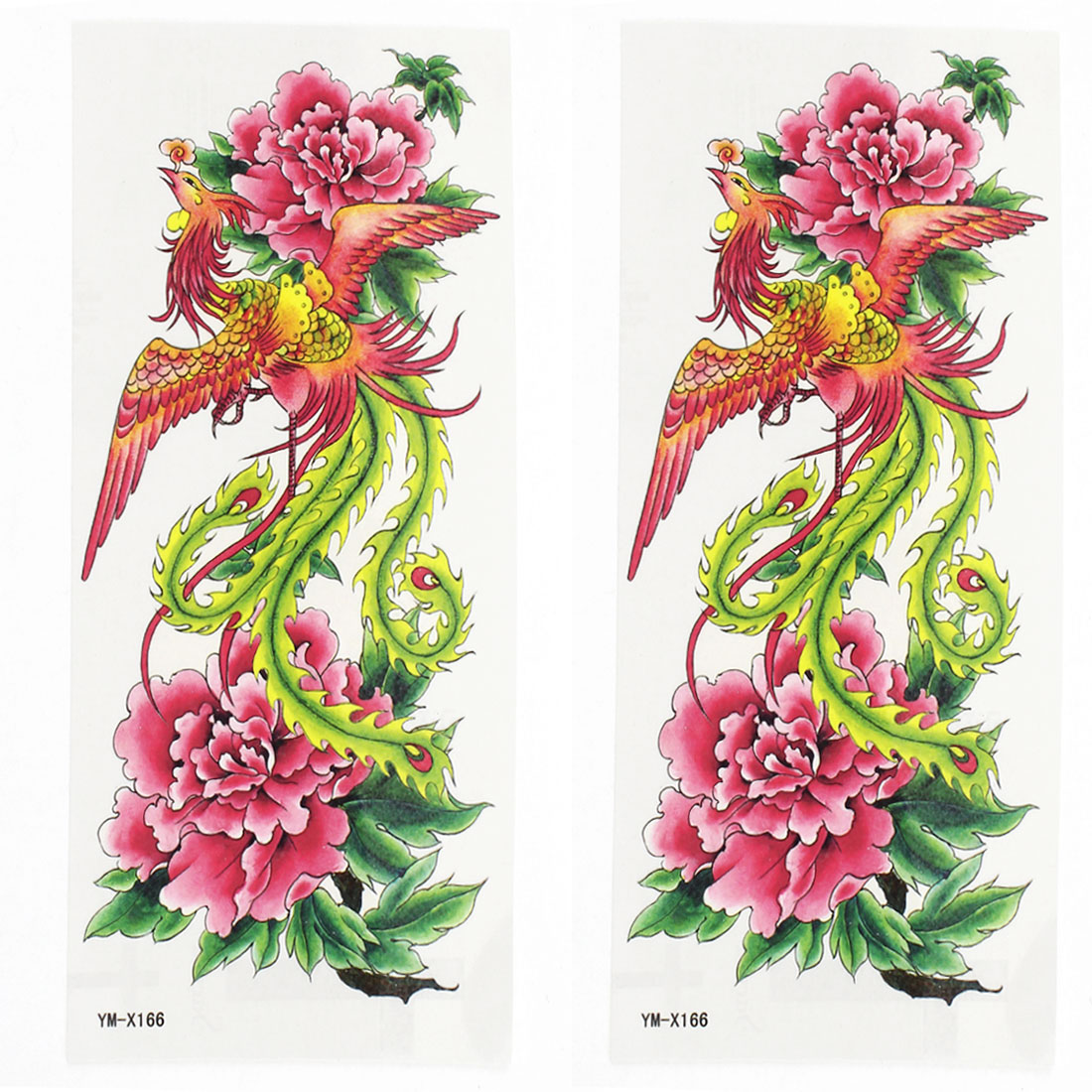 2 Sheets Flower Phoenix Pattern Paper Sticker Temporary Tattoos Multicolor