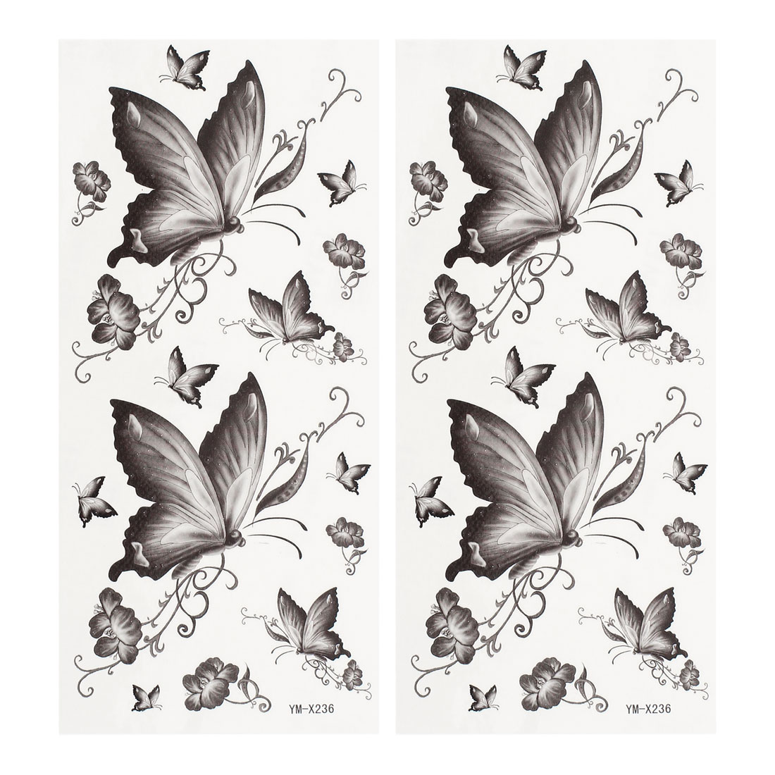 2 Sheets Floral Butterfly Pattern Paper Sticker Temporary Tattoos Dark Gray