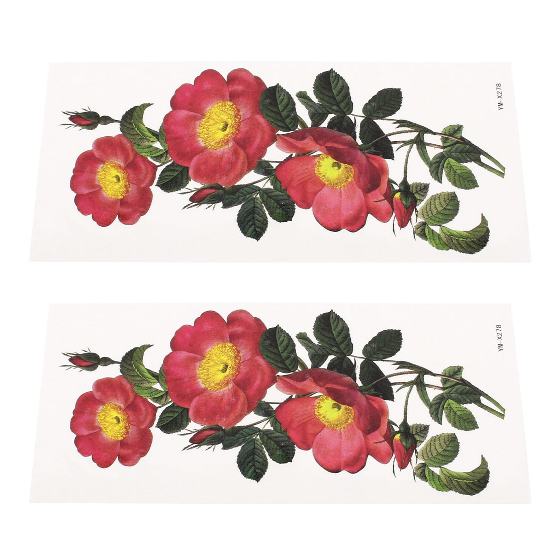 2 Sheets Flower Pattern Shoulder Removable Sticker Temporary Tattoos Red Green