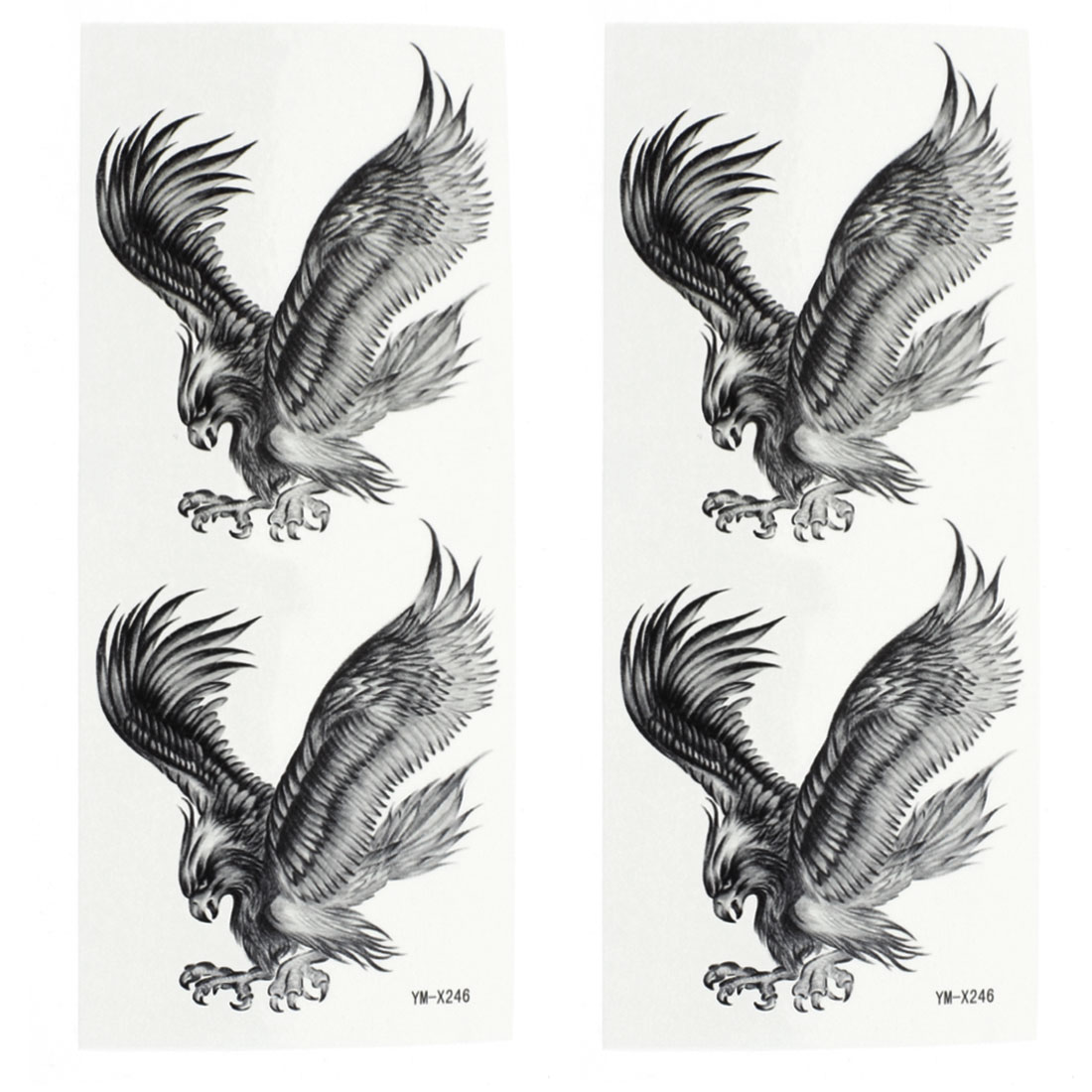 2 Sheets Removable Eagle Pattern Paper Sticker Temporary Tattoos Dark Gray