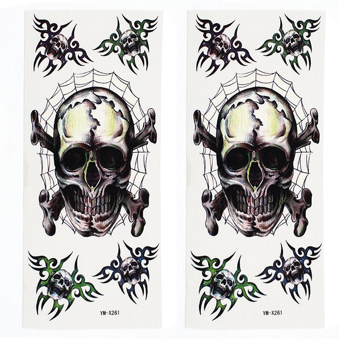 2 Sheets Removable Skull Pattern Paper Sticker Temporary Tattoos Colorful