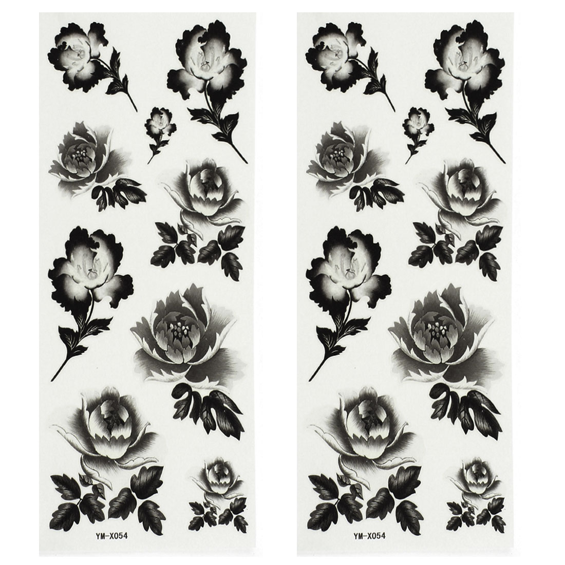 2 Sheets Flower Pattern Body Paper Sticker Temporary Tattoos Gray Black