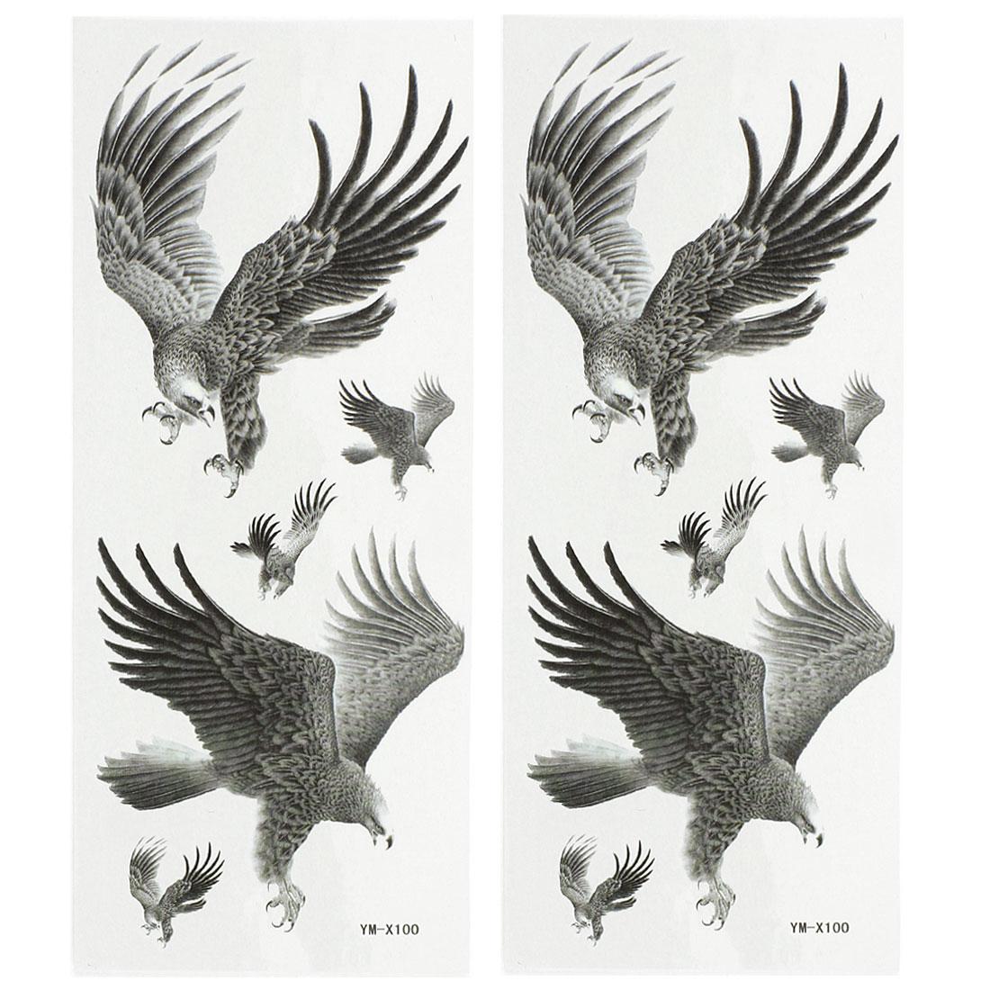 2 Sheets Back Leg Removable Eagle Pattern Sticker Temporary Tattoos Dark Gray