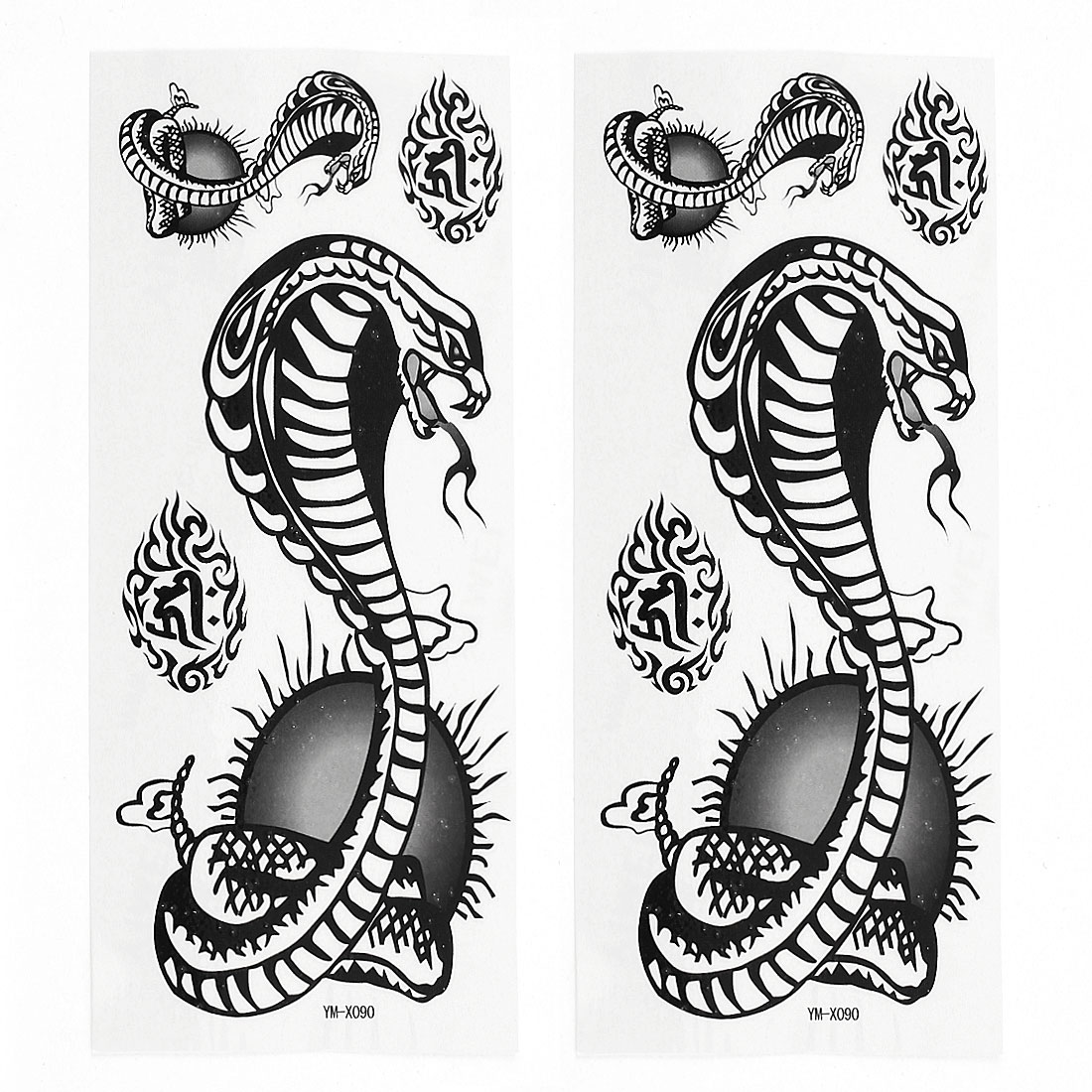 2 Sheets Removable Snake Pattern Paper Sticker Temporary Tattoos Black White