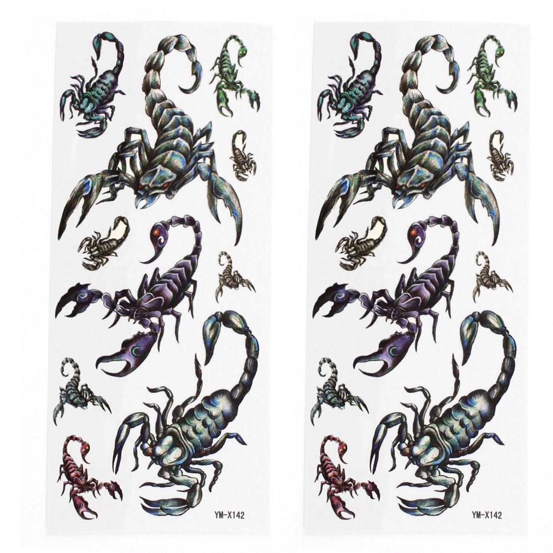 2 Sheets Removable Crab Pattern Paper Sticker Temporary Tattoos Colorful