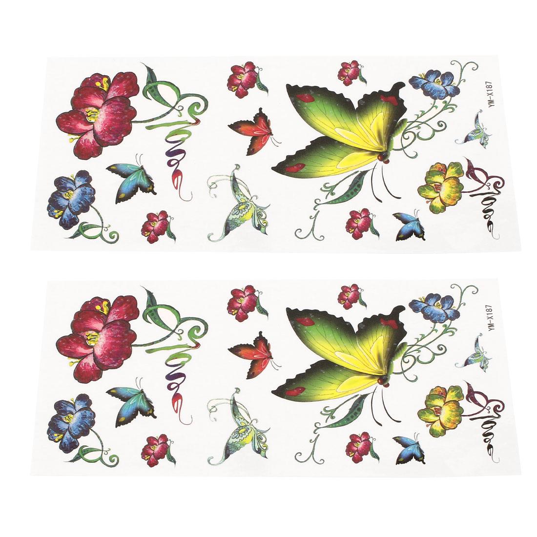 2 Sheets Flower Butterfly Pattern Back Leg Sticker Temporary Tattoos Multicolor