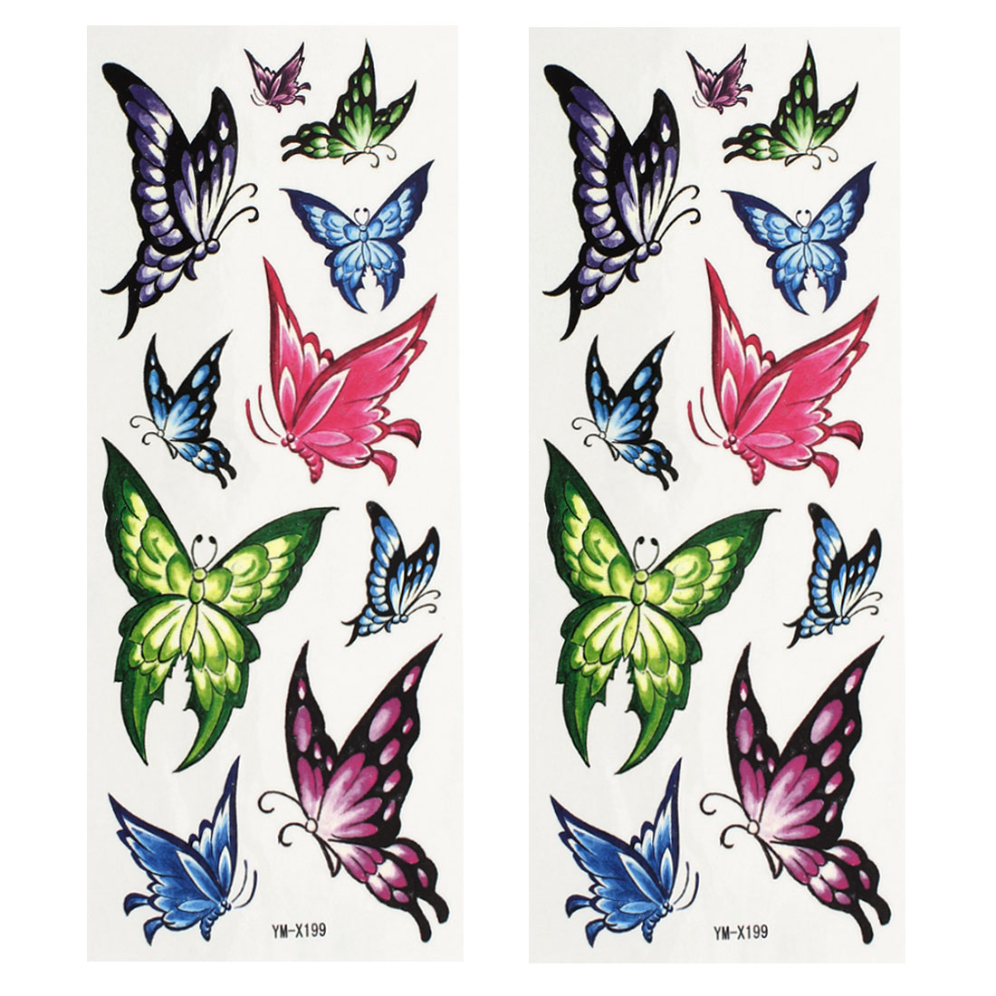 2 Sheets Body Art Removable Fake Butterfly Pattern Sticker Temporary Tattoos Colorful
