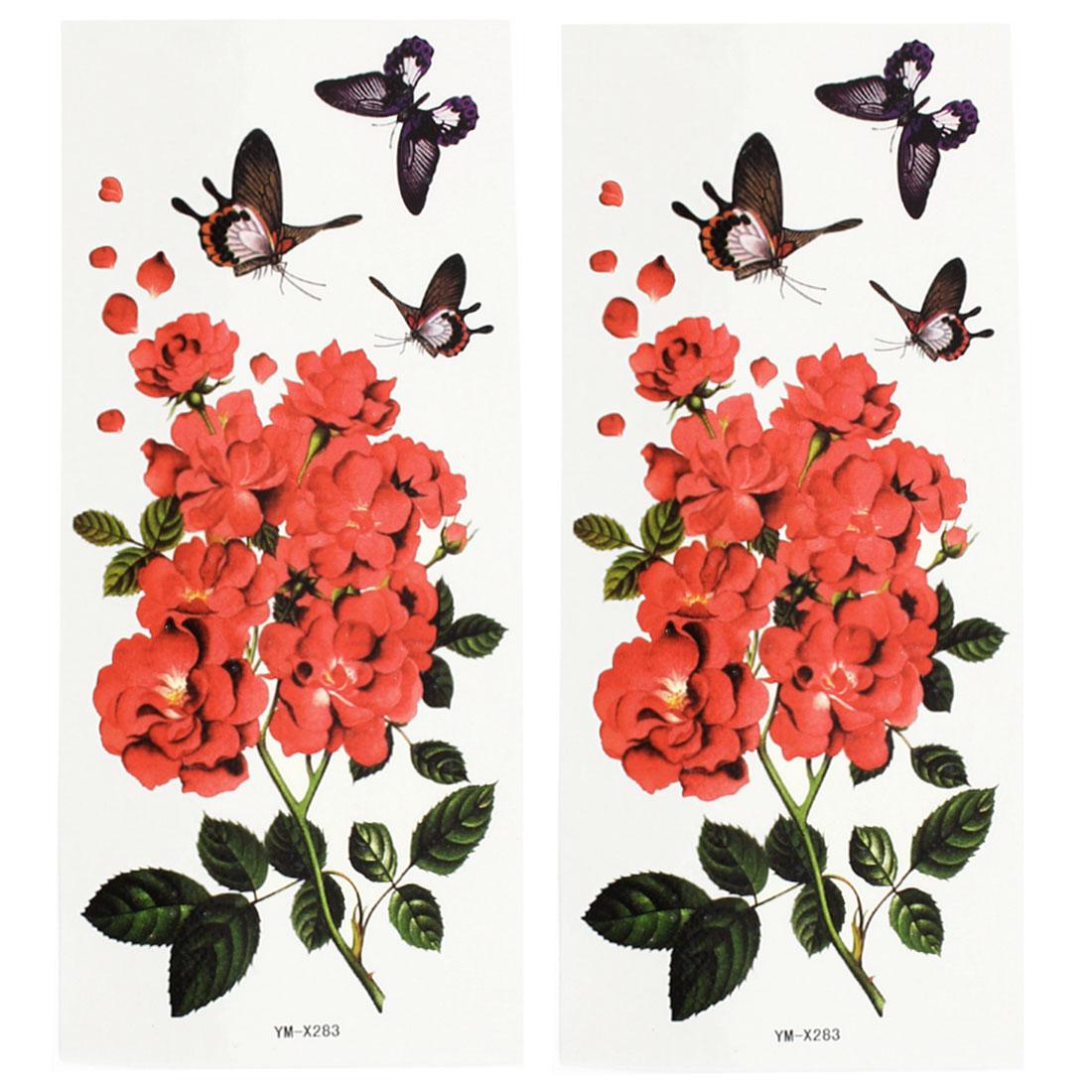 2 Sheets Flower Butterfly Pattern Shoulder Leg Temporary Tattoos Multicolor