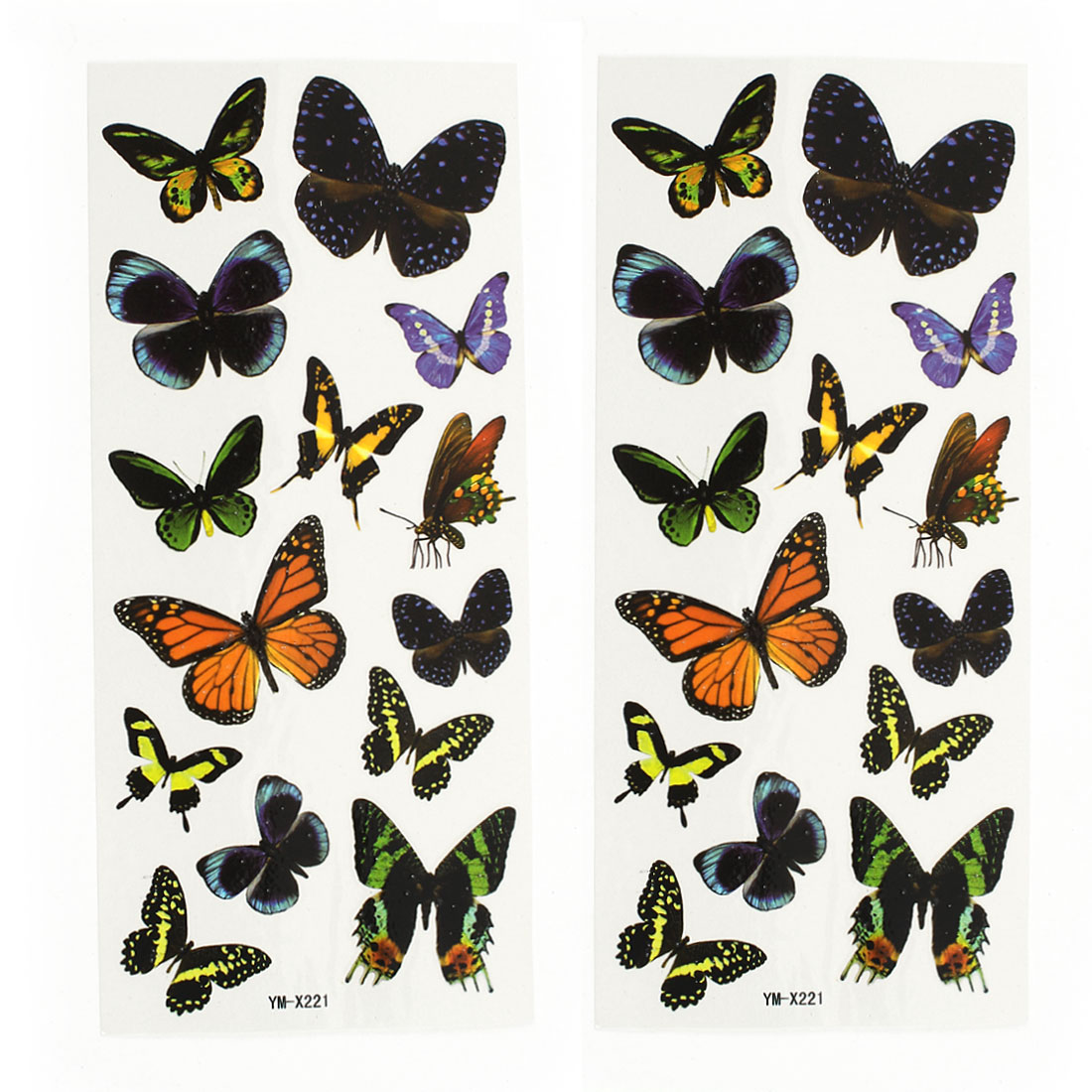 2 Sheets Lady Back Leg Butterfly Pattern Sticker Temporary Tattoos Colorful
