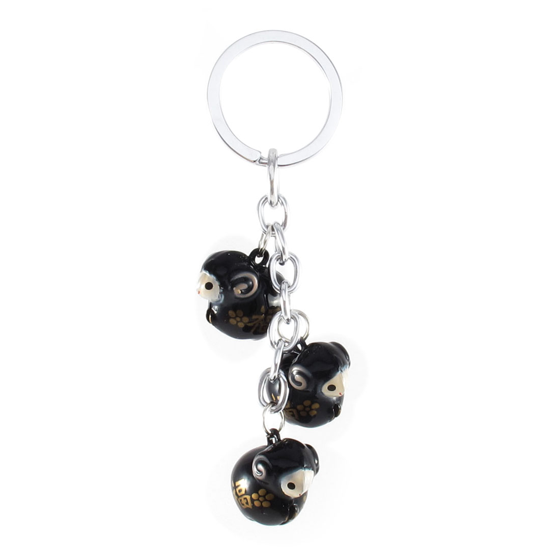 Black 3 Dangling Sheep Style Bells Ring Keychain Keyring