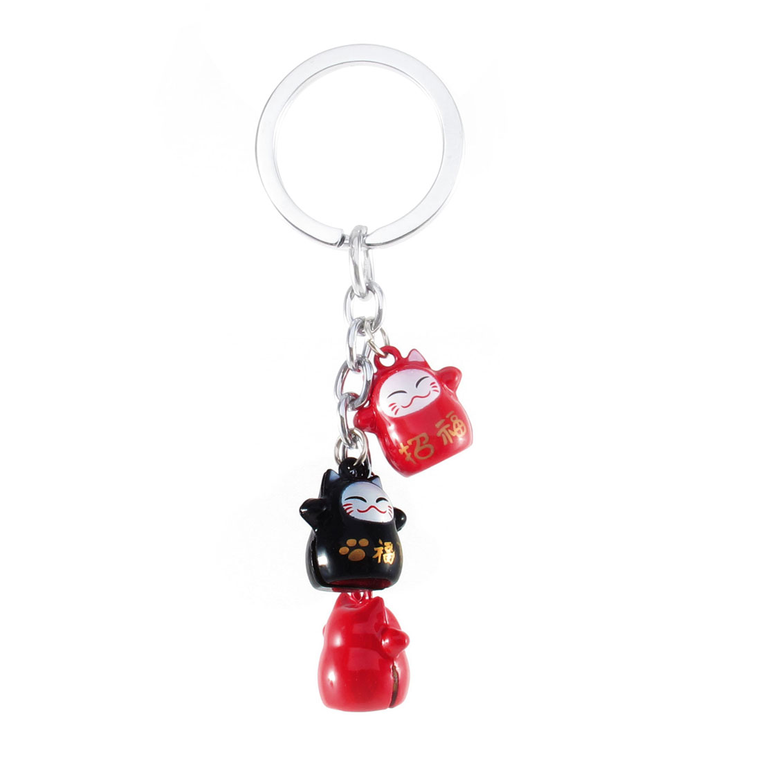 Black Red 3 Dangling Cat Style Bells Ring Keychain Keyring