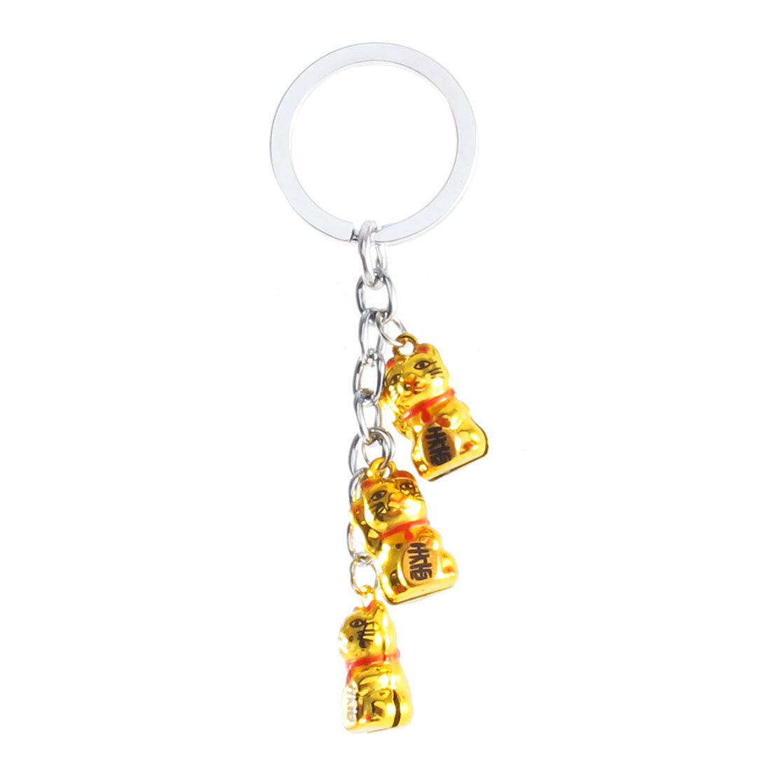 Gold Tone 3 Dangling Lovely Cats Style Bells Ring Keychain Keyring