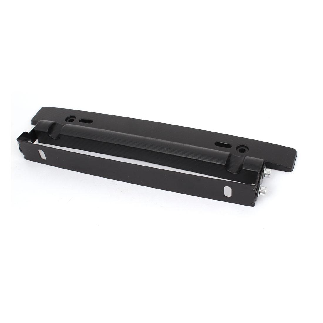 Car Black Metal Adjustable Angle Front Bumper License Plate Frame Bracket