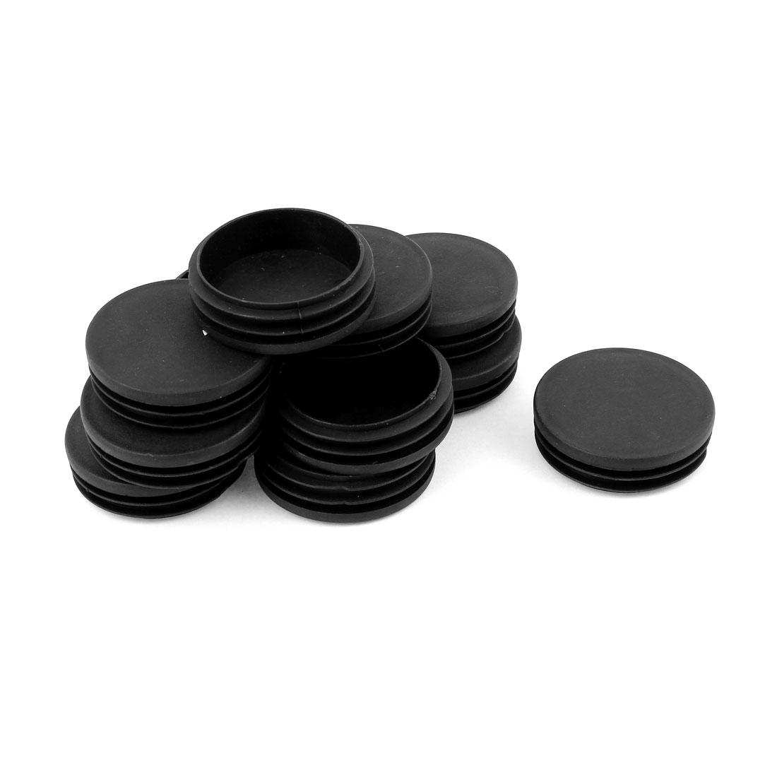 12 Pcs Plastic 60mm Dia Round Tubing Tube Insert Blanking End Caps Black