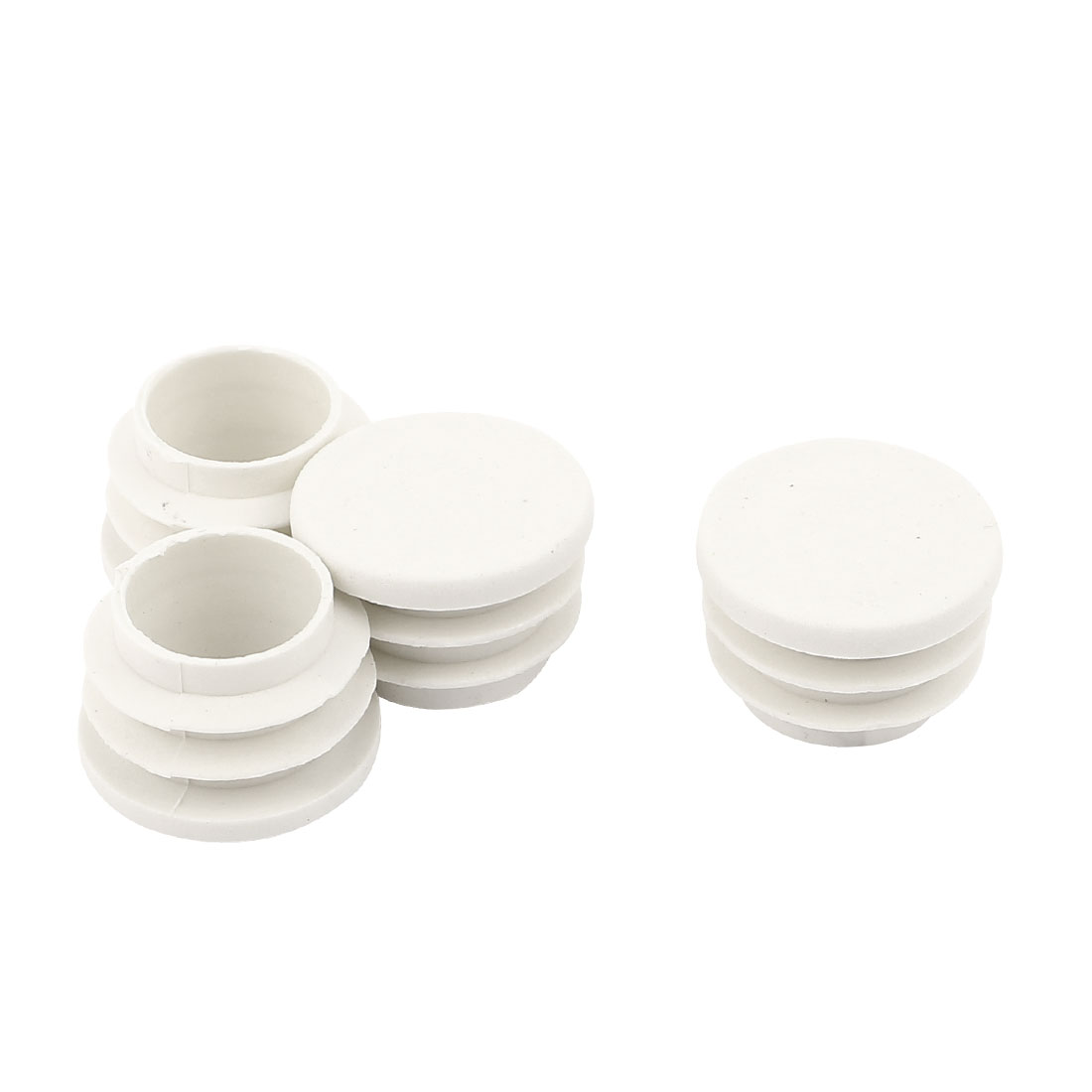 Home Plastic Round Blanking End Covers Tube Insert Bung White 25mm Dia 4 Pcs