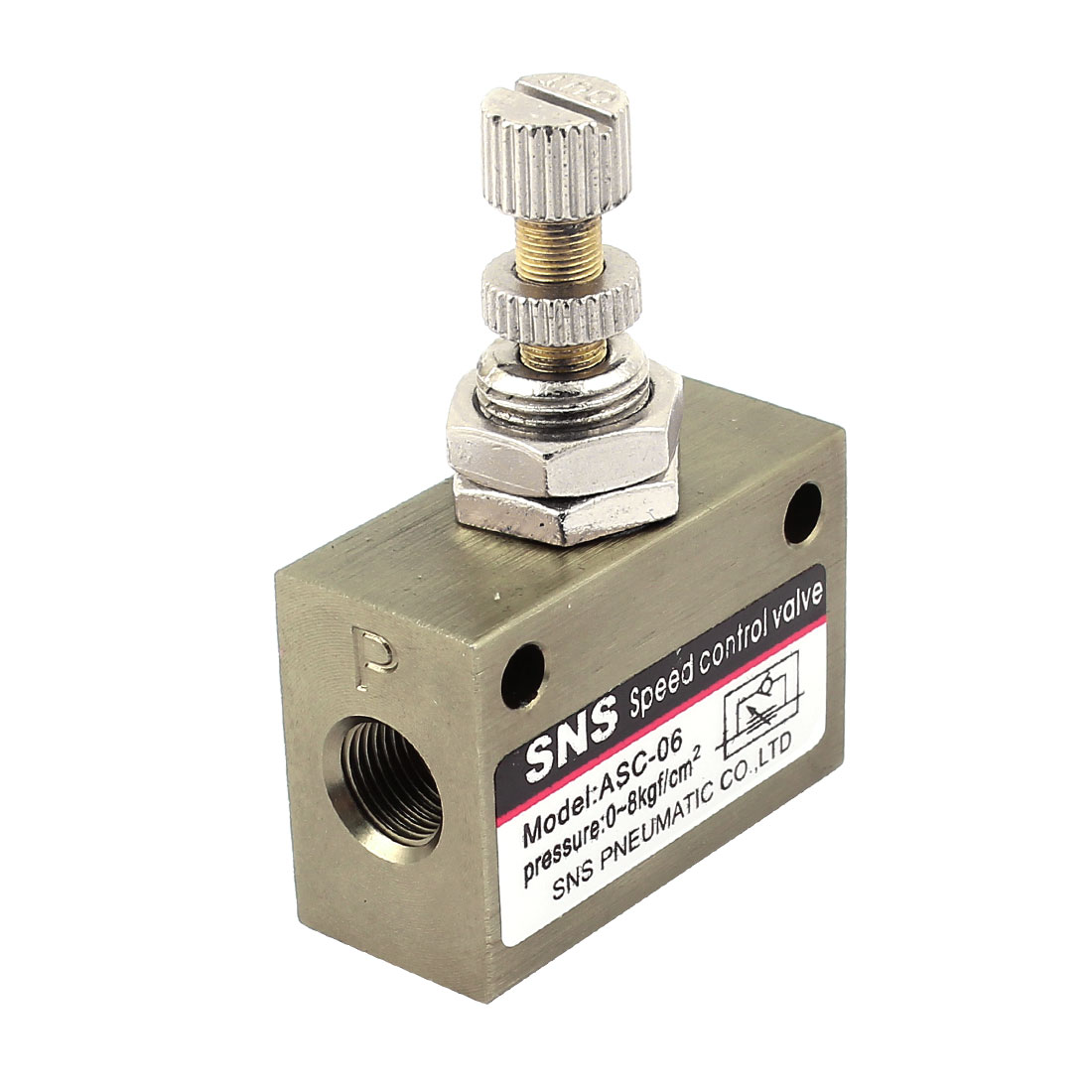 Gold Tone Metal 8mm Thread Dia Single Way Pneumatic Flow Control Valve