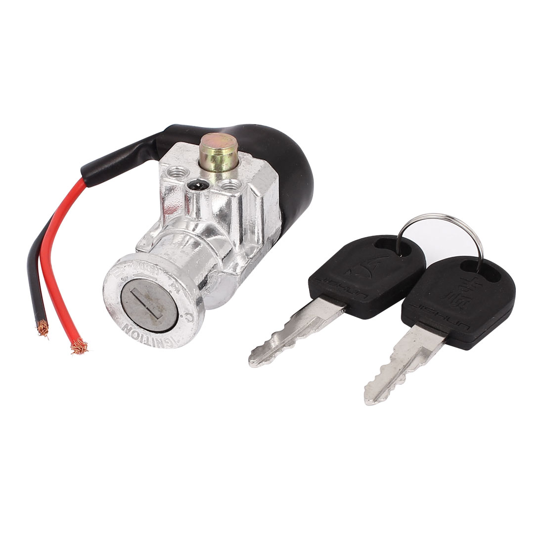 DC 48V Wired Connector Auto Motorbike Lock-On-Off Ignition Switch Lock w 2 Keys