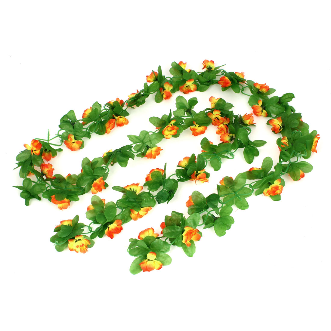 1.9M Orange Yellow Green Artificial Fabric Hanging Lilac Flower Vine Ornament