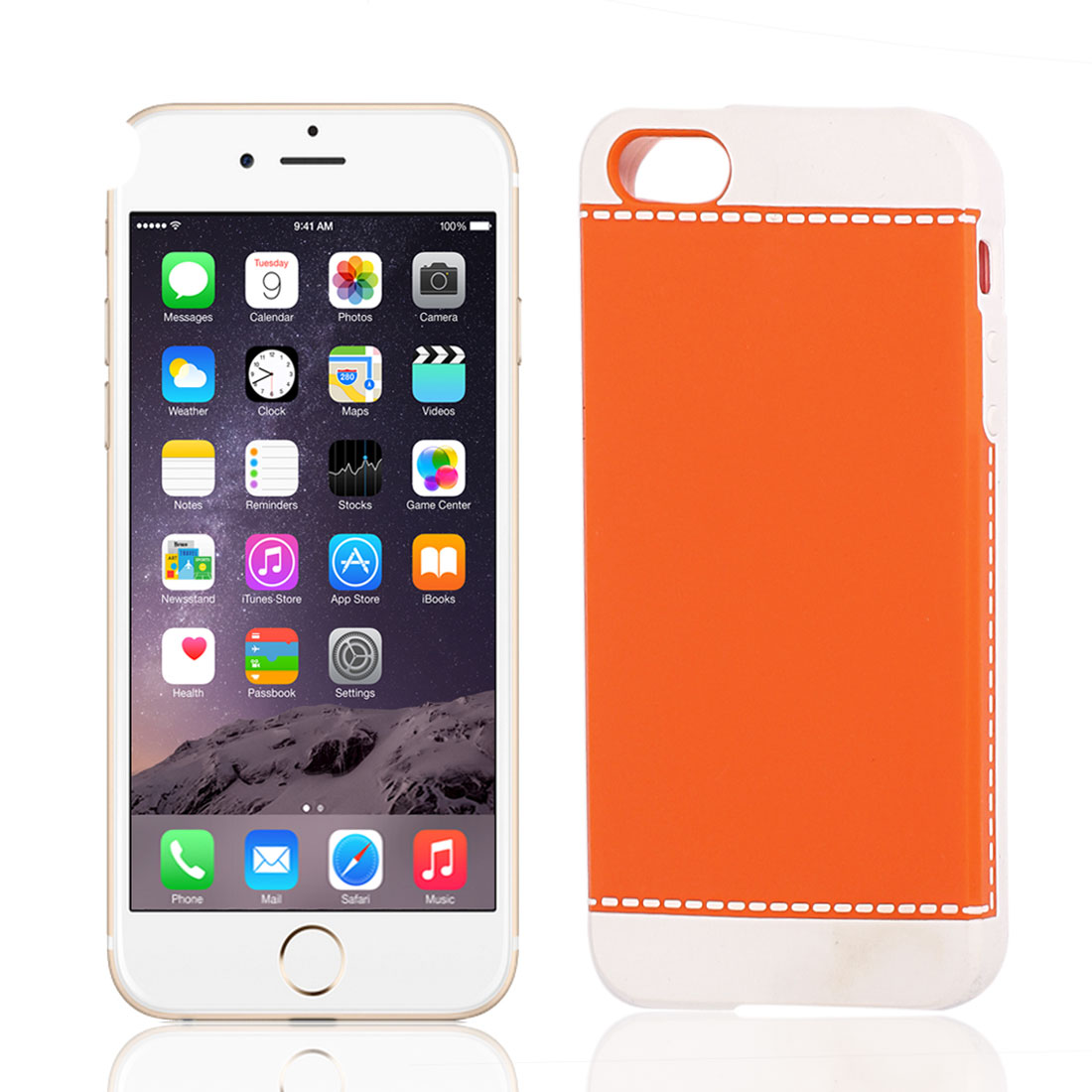 White Orange Plastic Protective Back Shell Case Cover for Apple iPhone 5 5S