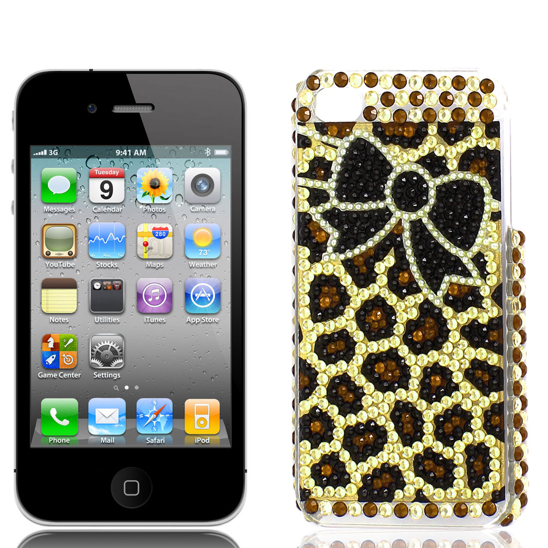 Black Brown Yellow Bowknot Pattern Rhinestones Back Case Cover for Apple iPhone 4 4G 4S
