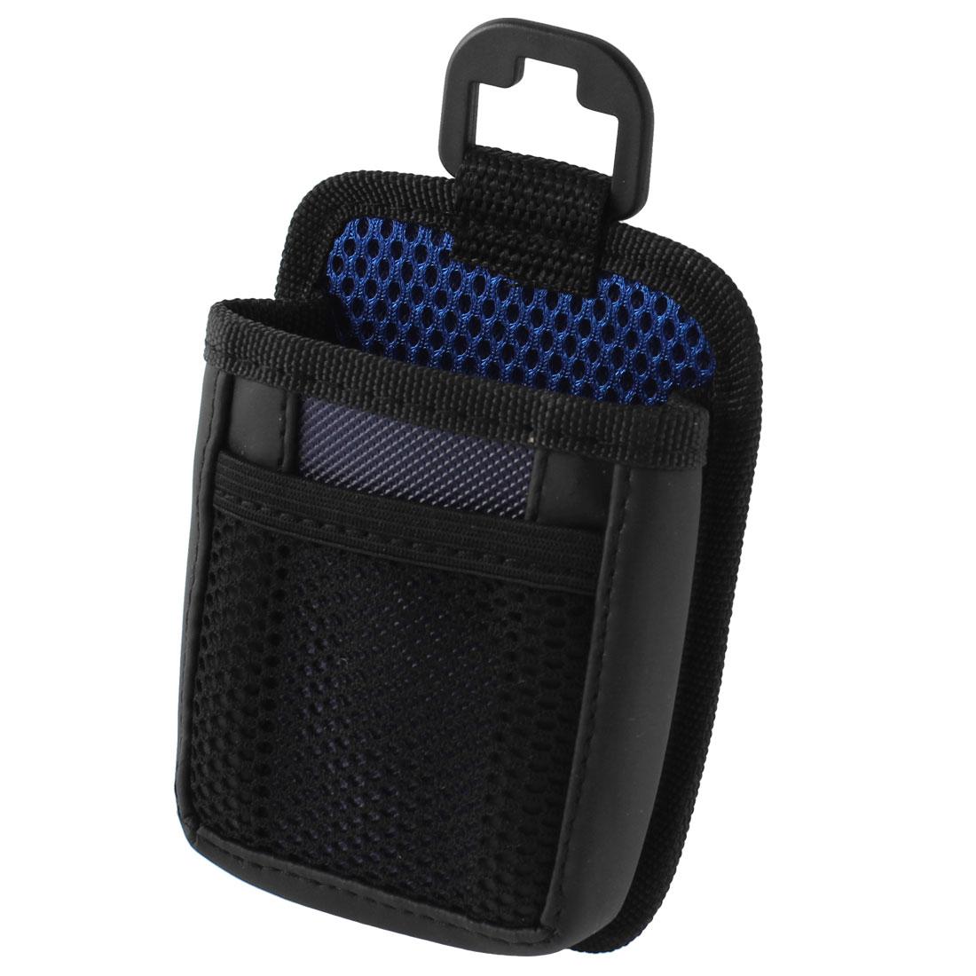 Car Auto Black Blue Nylon Meshy Air Vent Phone Bag Pen Pouch Holder