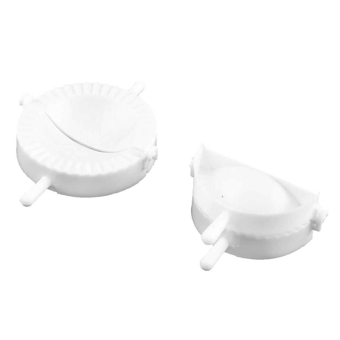 Kitchen White Plastic DIY Meat Pie Dumpling Pastry Press Makers Mould 2 Pcs