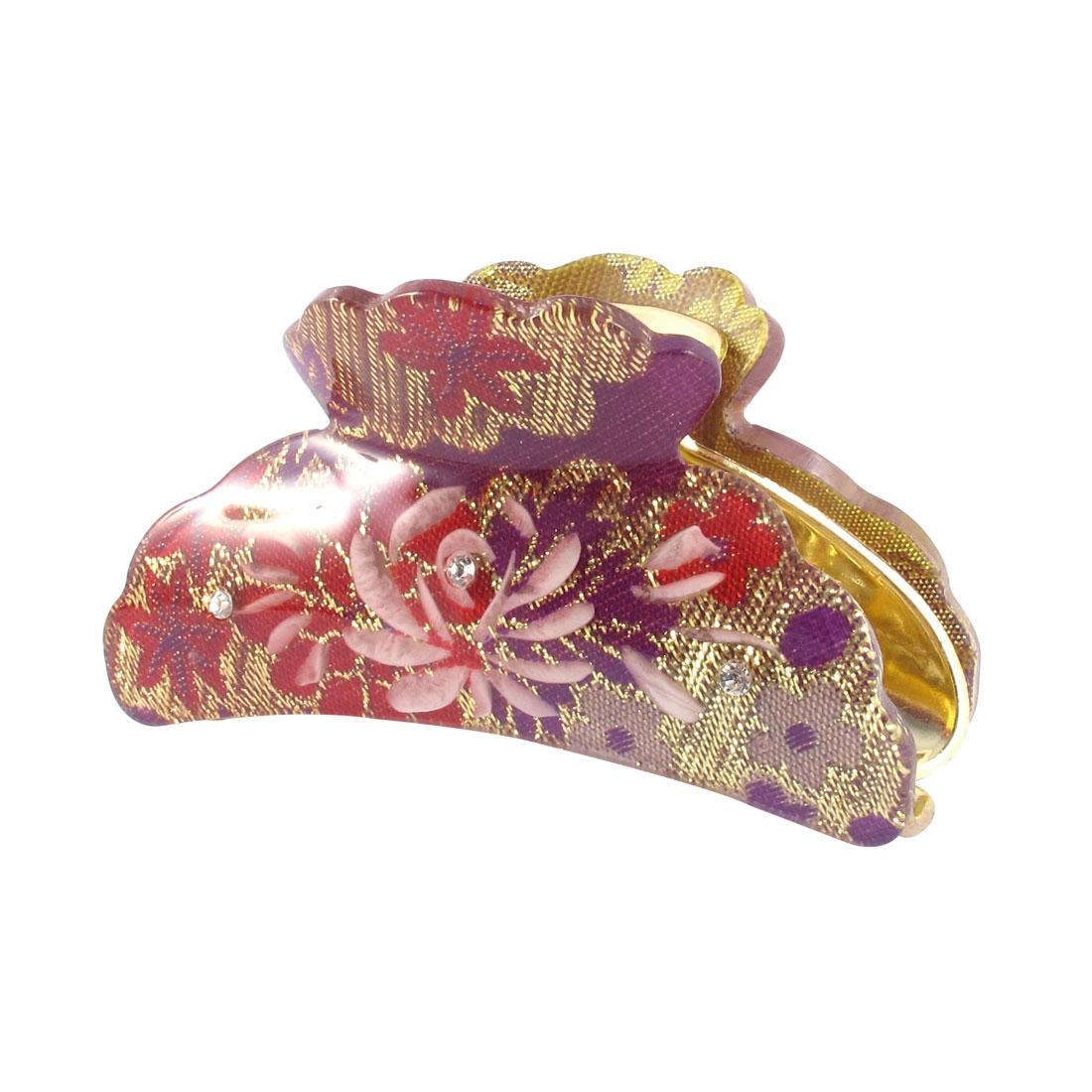 Woman Purple Hard Plastic Clamp Teeth Design Hair Clip Barrette Claw 3.5 Inch Length