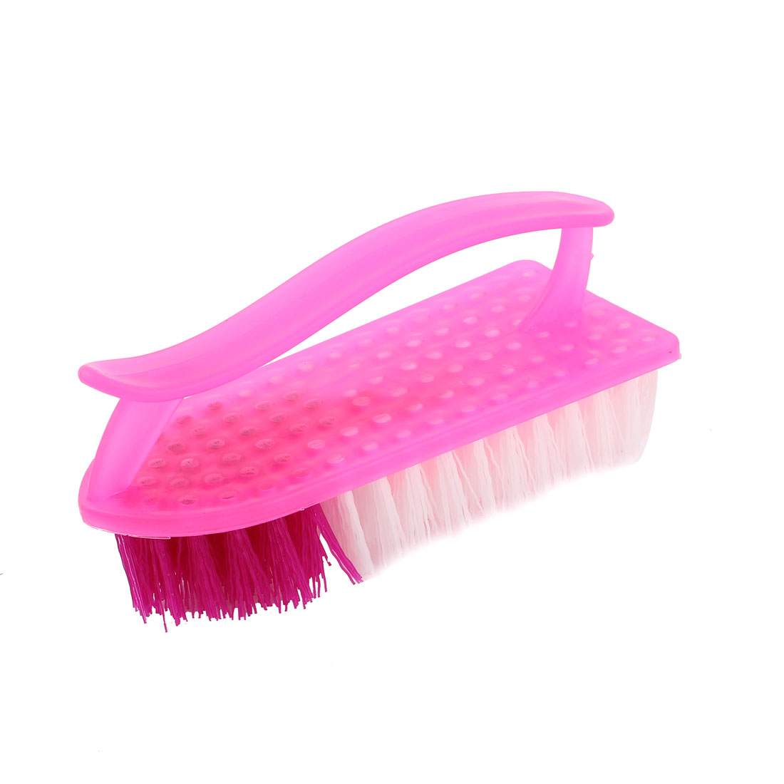 Household Plastic Handgrip Clothes Shoes Washing Scrubbing Brush Scrub Fuchsia