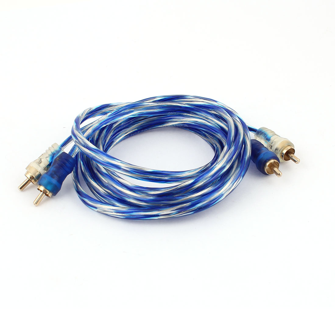 Blue Clear 1.8m 6Ft 2 RCA Male to Male Audio Video AV Signal Extenson Cable