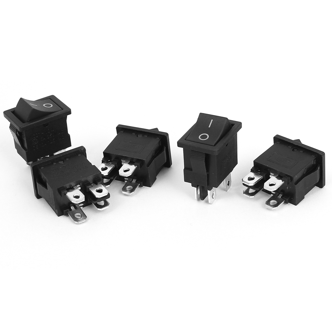 AC 250V/125V 6A/10A DPST ON/OFF 4 Pins Snap in Boat Rocker Switch 5PCS