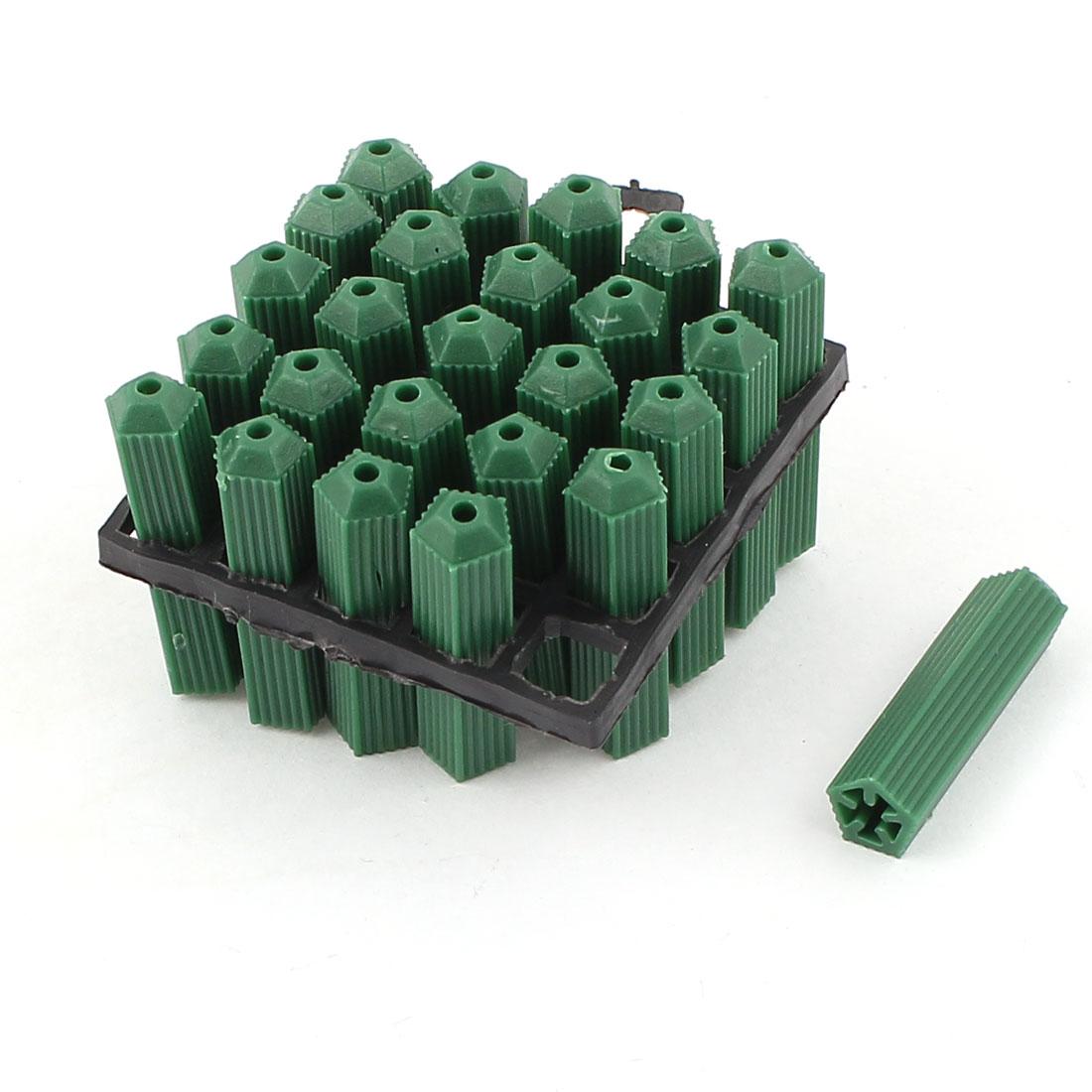 25 Pcs 3mm Green Anchor Nonslip Plastic Screw Fixing Wall Plugs Fasteners 27mm
