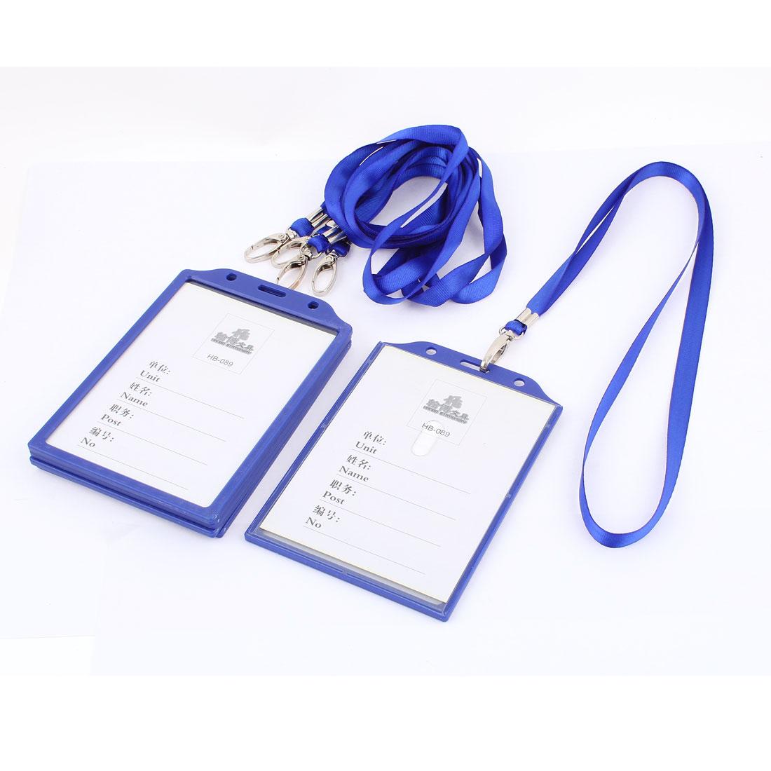 Office Plastic Vertical ID Work Card Badge Holder Neck Strap Lanyard Blue 5pcs