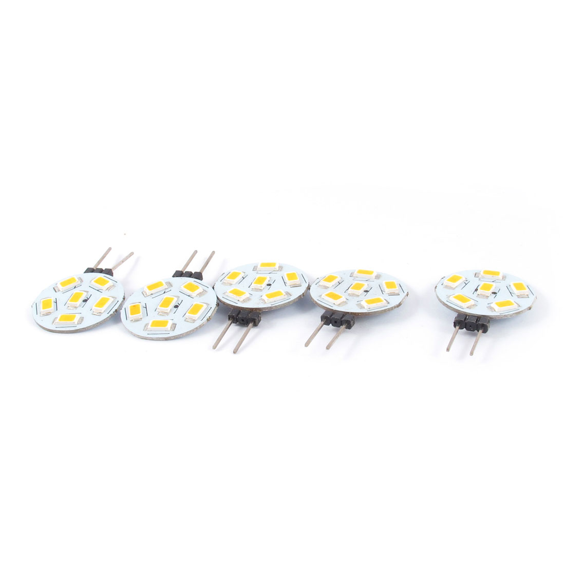 DC12V Warm White G4 Base 5730 SMD 6 LEDs Car Side Pin Light Lamp 5pcs