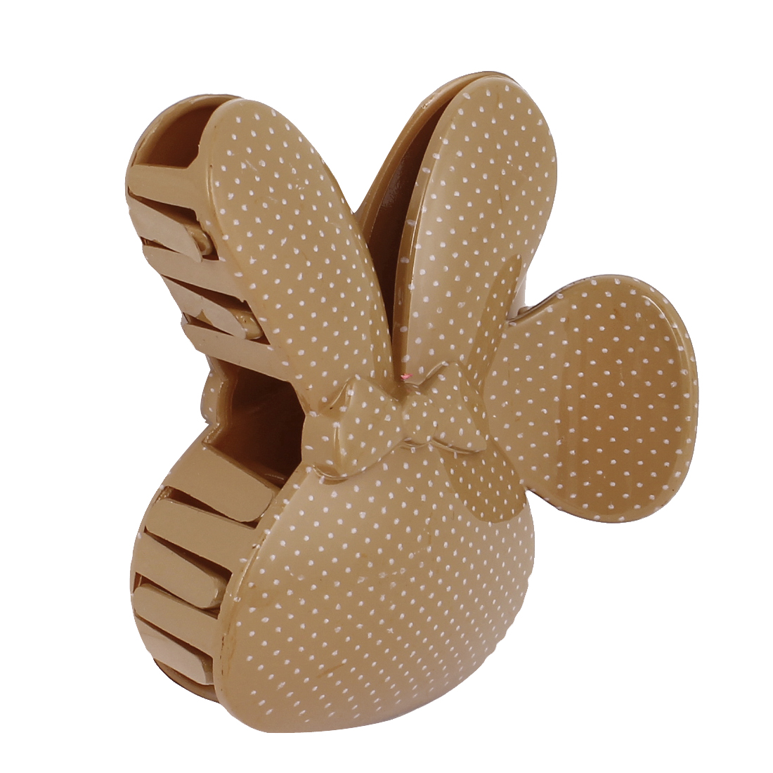 Woman Plastic Dots Pattern Rabbit Design 10 Teeth Hair Jaw Clip Claw Clamp Brown