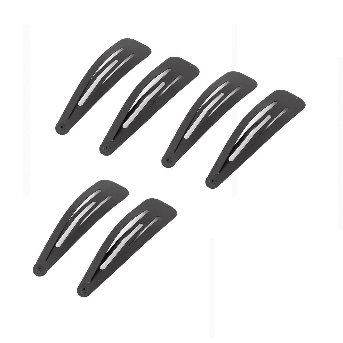 Lady Metal Bow Prong Barrettes Bendy Snap Hairstyle DIY Hair Clips Black 6 Pcs