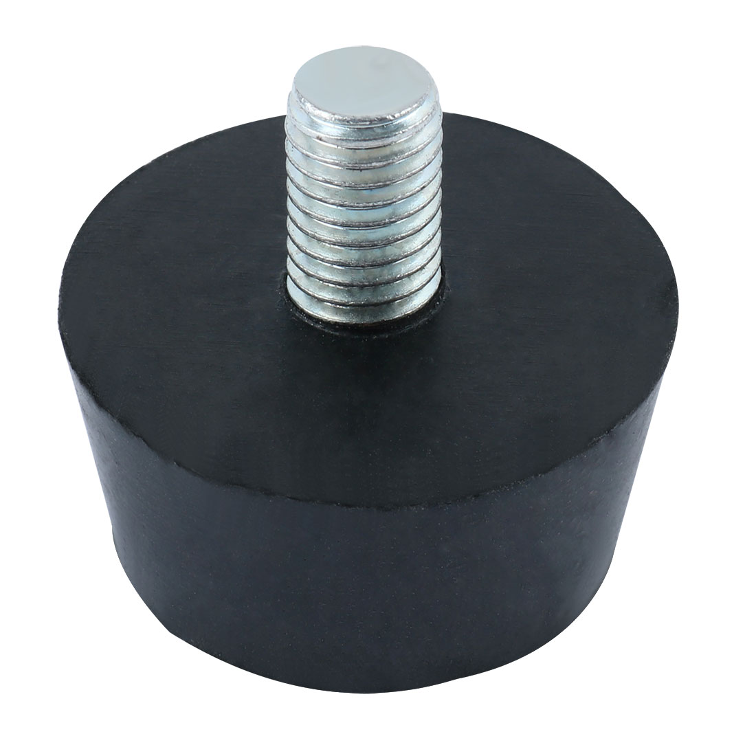 Black Rubber Base Metal Threaded Rod Chair Table Leg Pad Protector M10x16mmx36mm