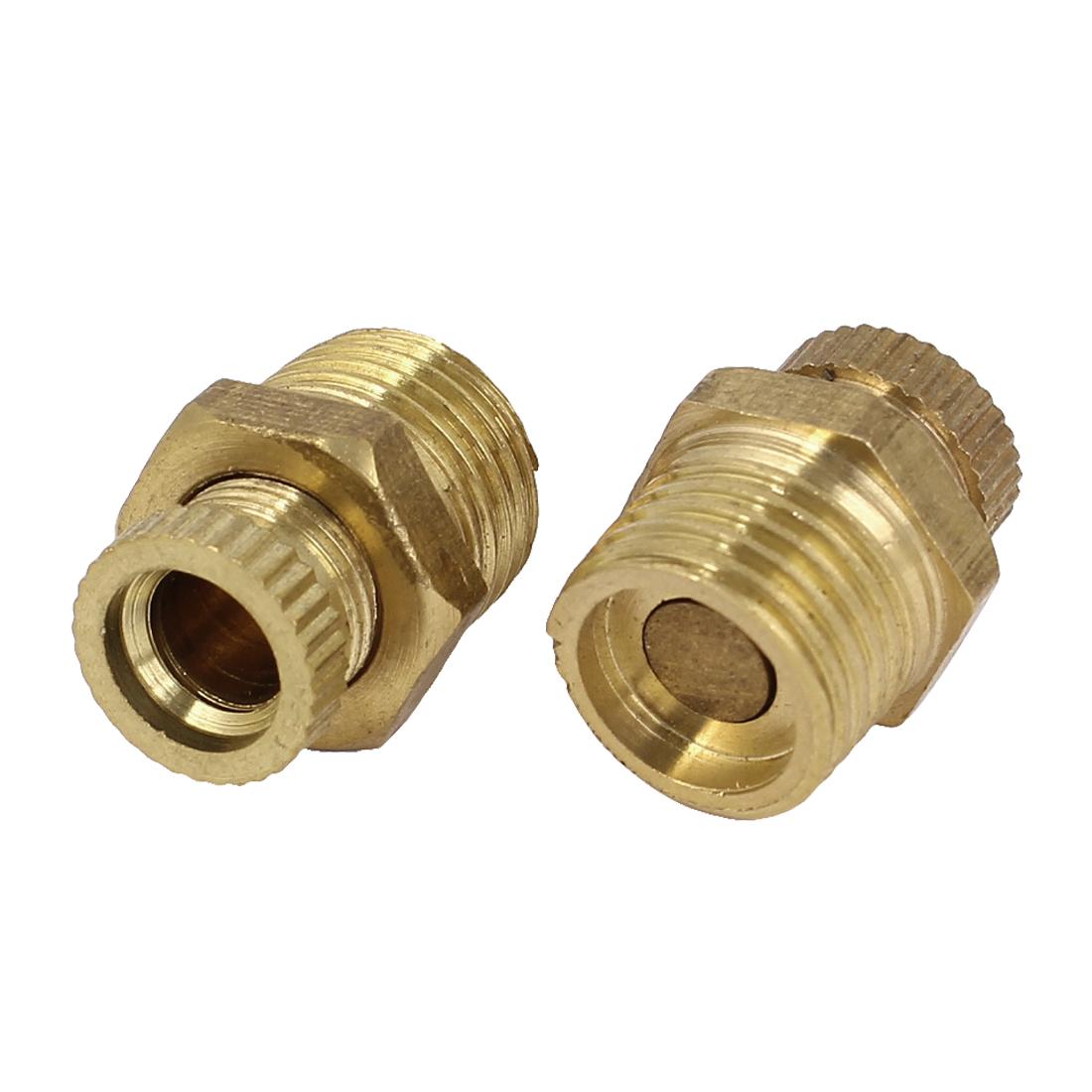 Air Compressor 13mm 1/2BSP Male Thread Water Drain Valve Gold Tone 2 Pcs